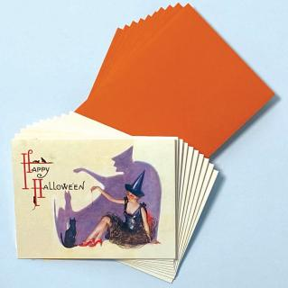 Witch Lady with Shadow  - Box (Packaged and Boxed Halloween Greeting Cards)