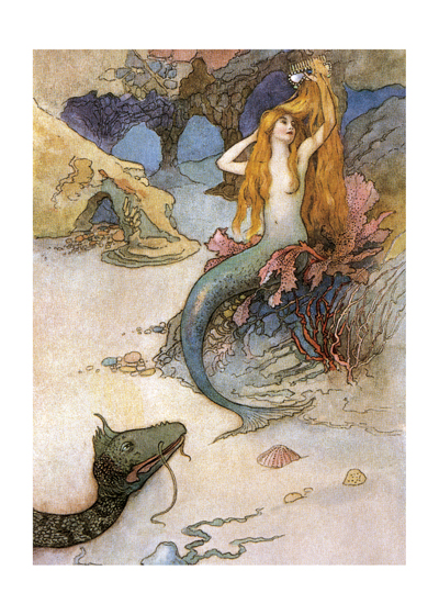 A Mermaid , illustration by Warwick Goble  Buy the print> (a https://laughingelephant.com/01424p/))