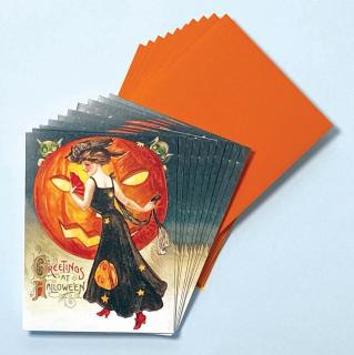 Lady in Halloween Dress  - Box (Packaged and Boxed Halloween Greeting Cards)