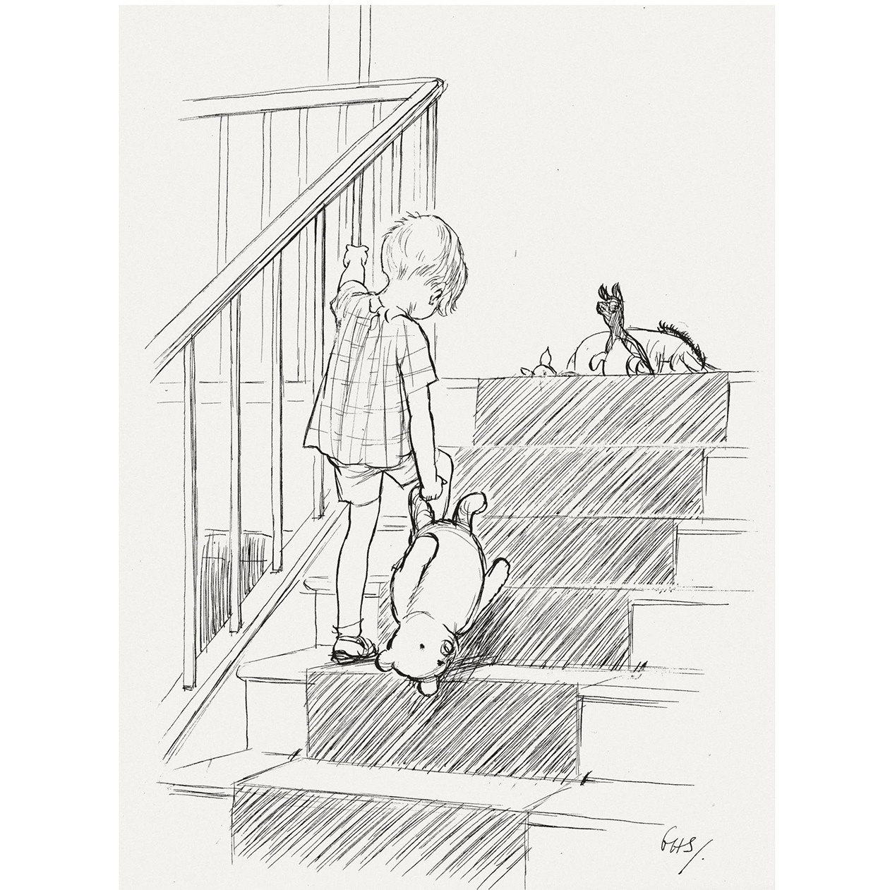 Christopher Robin and Pooh heading upstairs, illustration by E.H, Shepard
