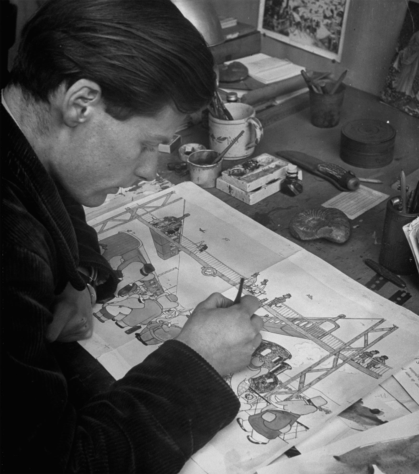 Young Laurent de Brunhoff at work on Babar