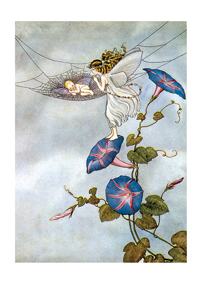 Fairy with a Fairy Baby, Illustration by Ida Rentoul Outhwaite  (Available as a Greeting Card and Ar