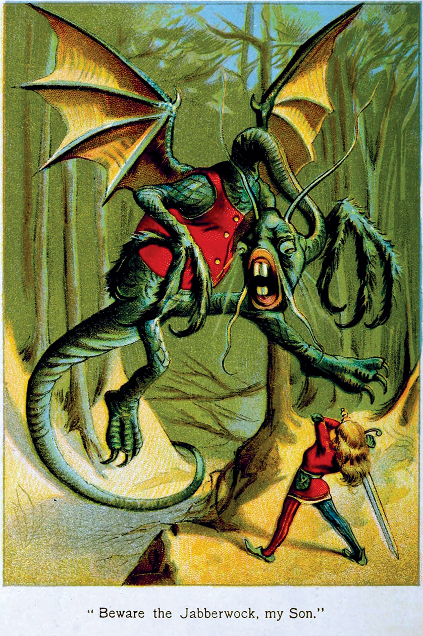 "A colored version of ""The Jabberwocky"" by John Tenniel for 'Alice's Adventures in Wonderland by Lewi"
