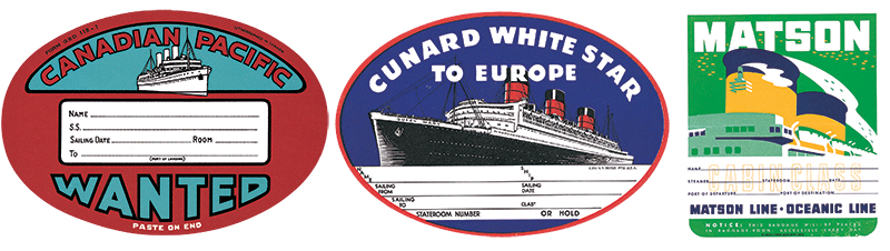 Three steamship labels