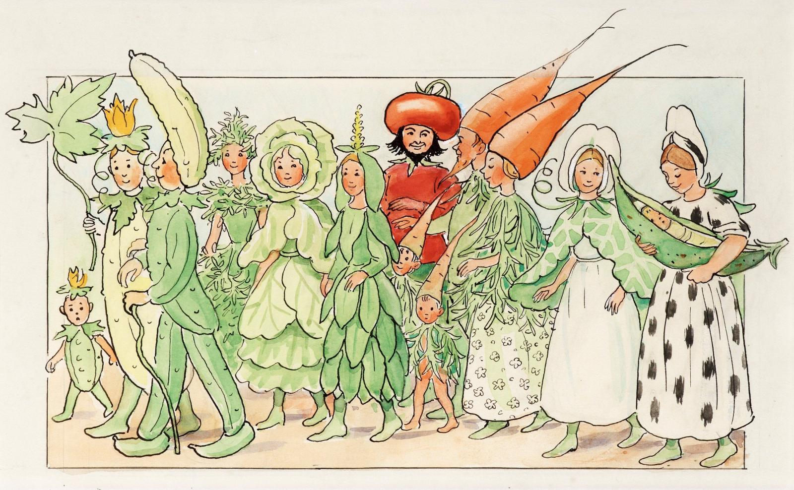 "Elsa Beskow illustration from ""Fest i potatislandet"""