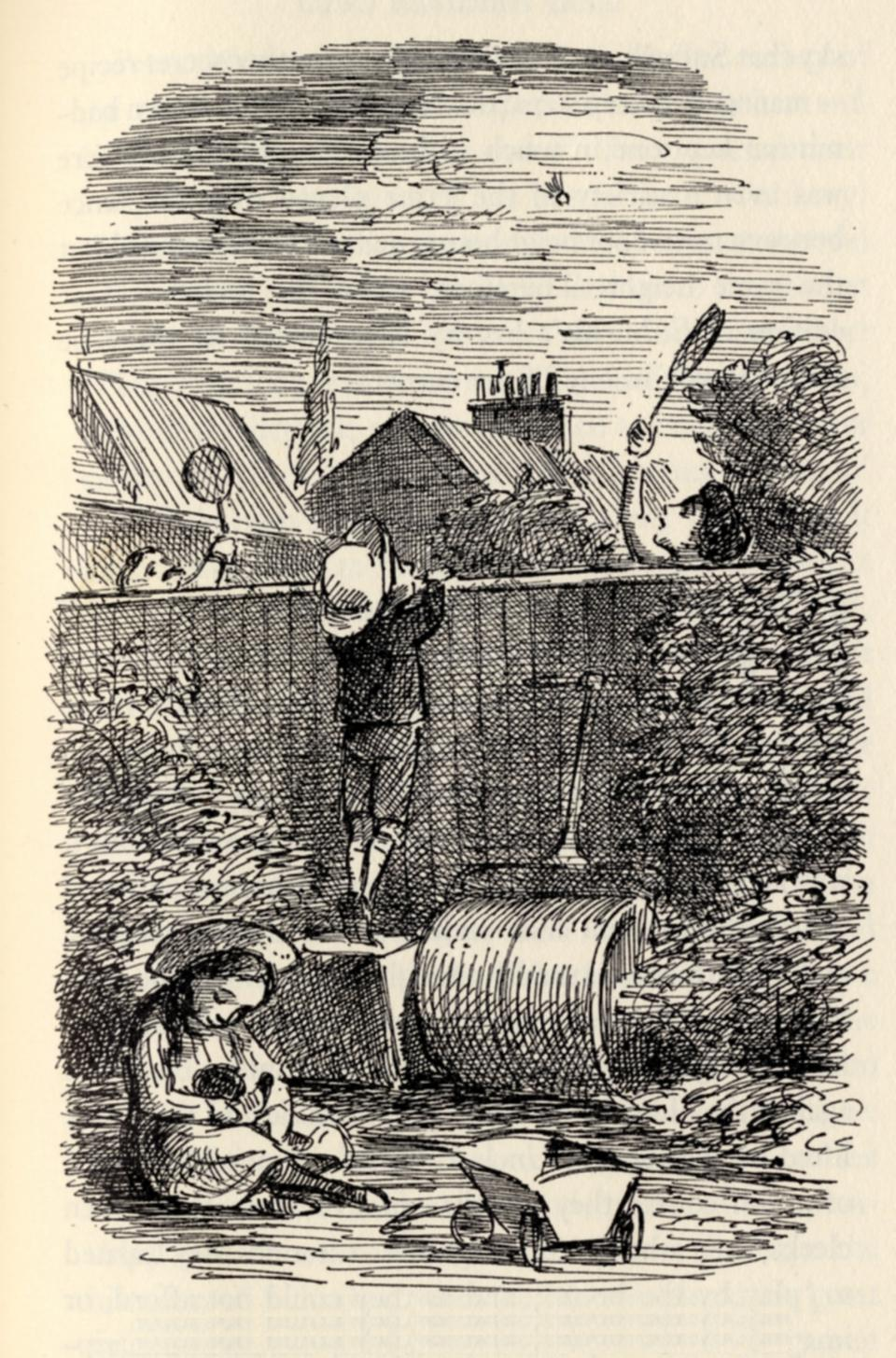 Badminton was the game of suburbia's great days: Illustration by Edward Ardizzone