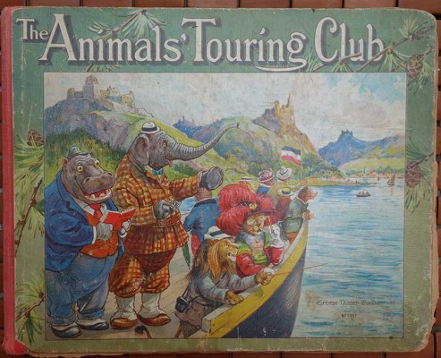 A group of dressed animals on a boat on the Rhine river
