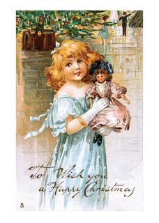 Victorian Girl with Doll (Children Enjoying Christmas Greeting Cards)