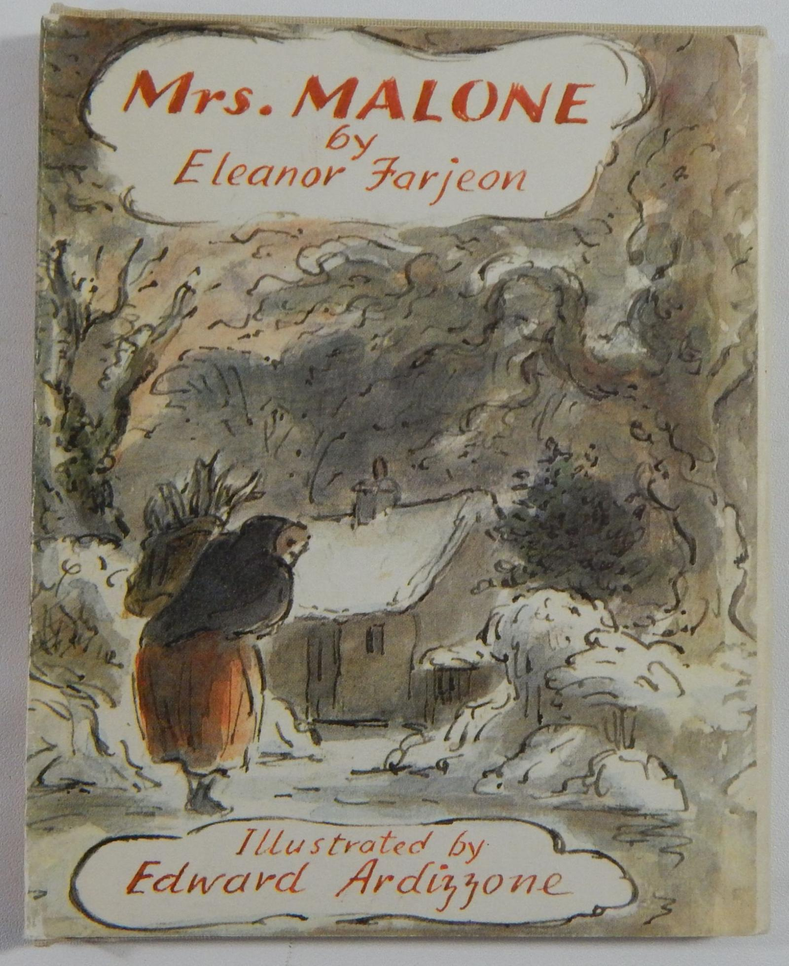 Cover Illustration by Edward Ardizzone for 'Mrs. Malone' by Eleanor Farjeon