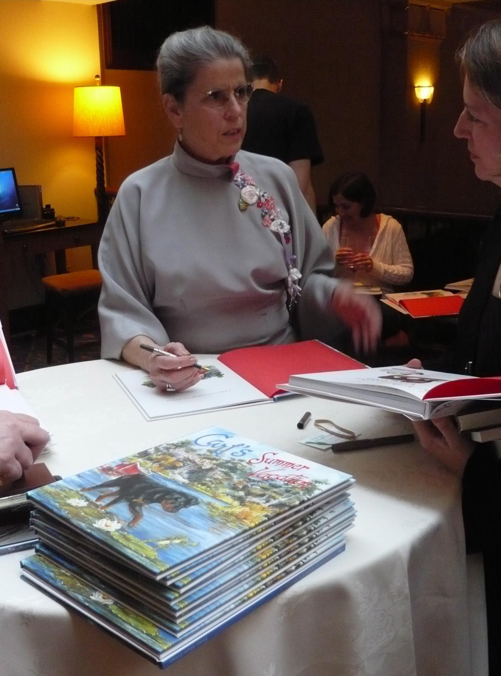 Alexandra signing books in Portland (by the way, she made her dress!)