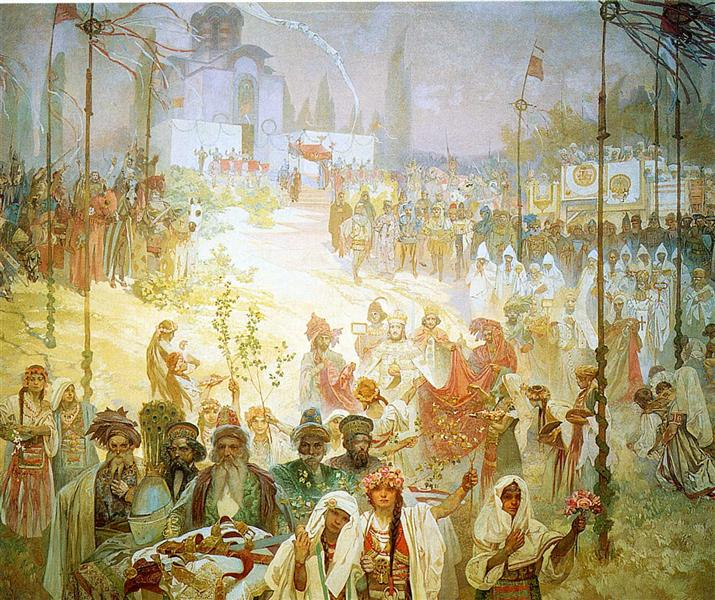 The Coronation of the Serbian Tsar painting by Alphonse Mucha