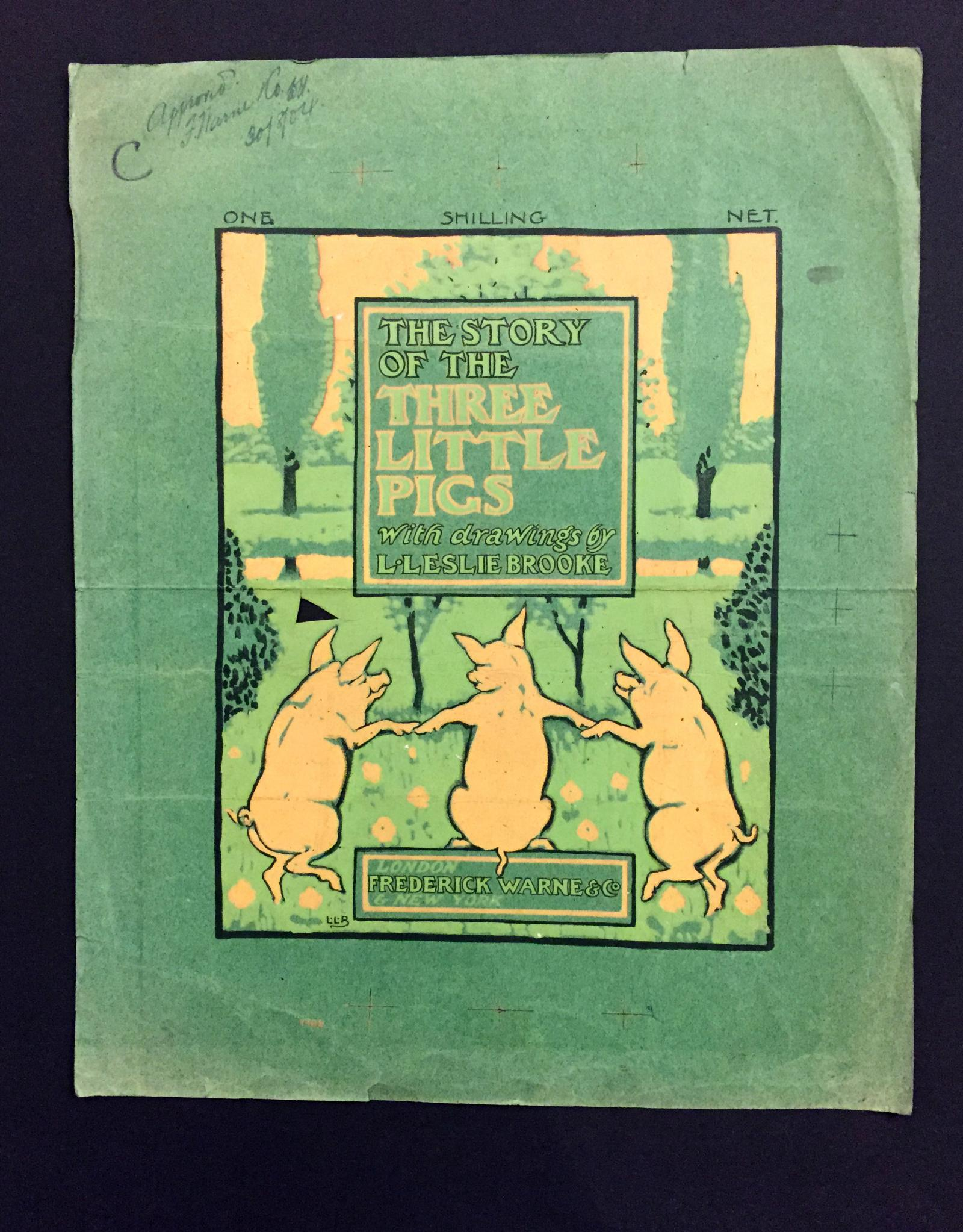 """Original Layout Painting by Leslie Brooke for """"The Three Little Pigs"""""""