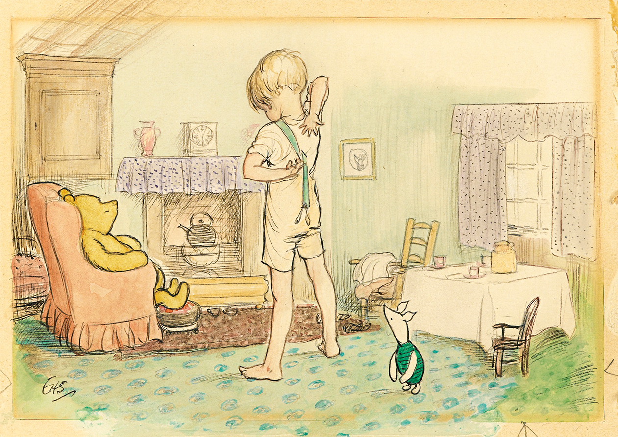 Christopher Robin's Braces. Illustration by E.H. Shepard for an A.A.Milne story.