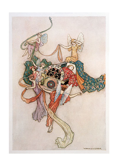 Fairies with a baby in a cradle, by Warwick Goble Buy the card > (a https://laughingelephant.com/004