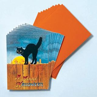 Black Cat on a Fence - Box (Packaged and Boxed Halloween Greeting Cards)