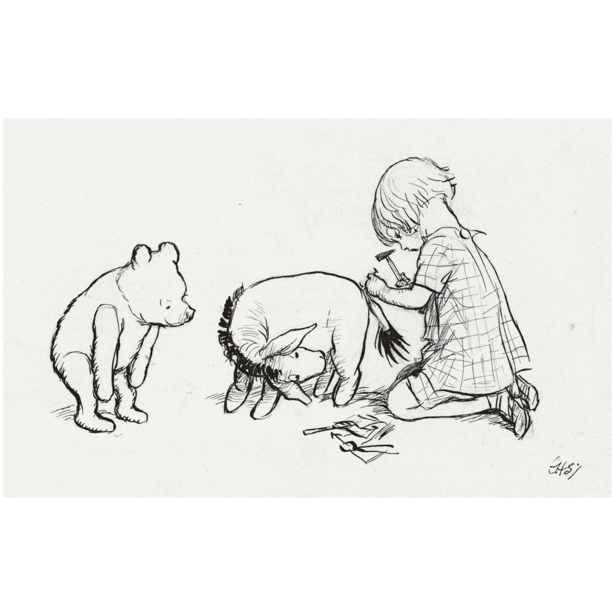 """""""When Christopher had nailed it into place..."""" Drawing  of Christopher Robin, Pooh and Eeyore, by E."""
