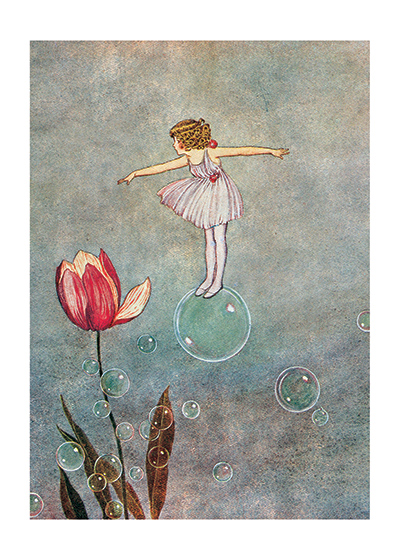 Fairy Riding a Bubble, Illustration by Ida Rental Outhwaite  (Available as a Greeting Card and Art P