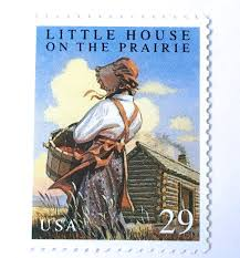 Postage stamp commemorating Laura Ingalls Wilder's work