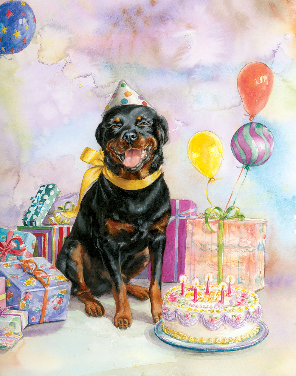 """Cover Painting for """"Carl's Birthday"""" by Alexandra Day"""