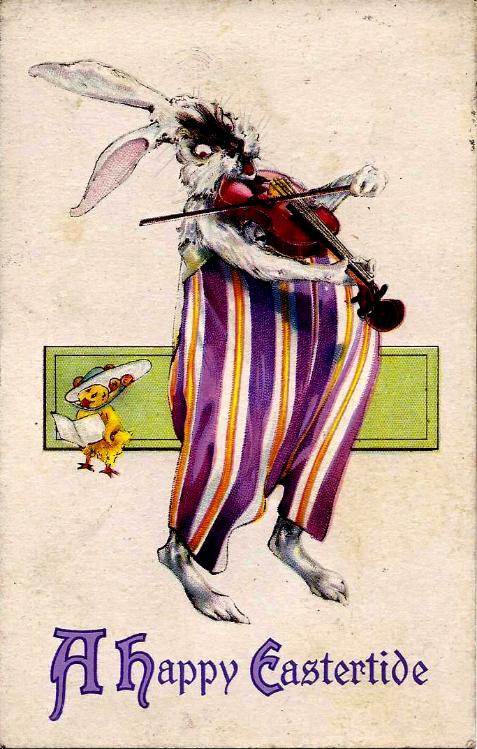 Rabbit with a Violin, postcard illustrated by John R. Neill, 1924