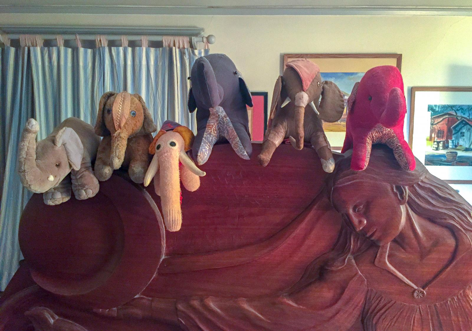 From left to right: Jumbo, Henry, Elephanto, Great Grey, Old Elephant, Red Elephant