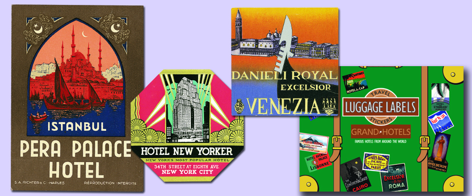 Laughing Elephant Luggage Labels of Grand Hotels, with examples.