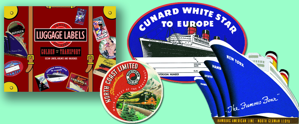 Two ship and one train luggage label, plus Laughing Elephant's box of travel labels