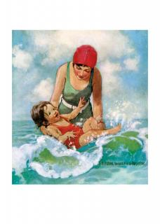 Mother & Child in Waves (Jessie Willcox Smith Greeting Cards)