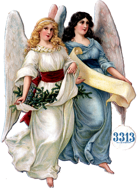 Victorian Scrap of two angels