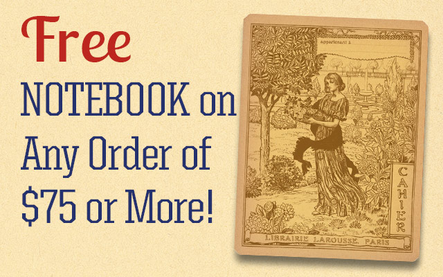 Free Notebook On Any Order of $50 or More!