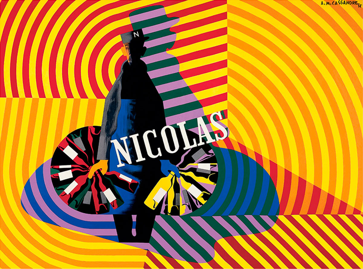 Wine poster for Nicolas, by A.M.Cassandre (1938)