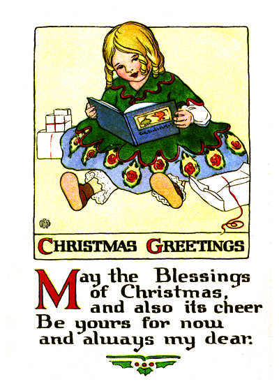 A postcard image of little girl reading a book, with Christmas greetings