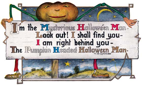 A pumpkin man holding a Halloween message