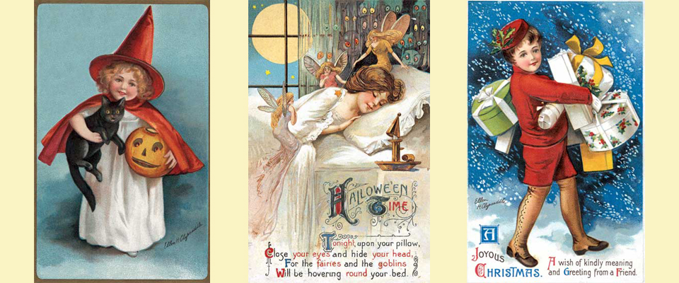 Three Holiday postcards by Ellen Clapsaddle
