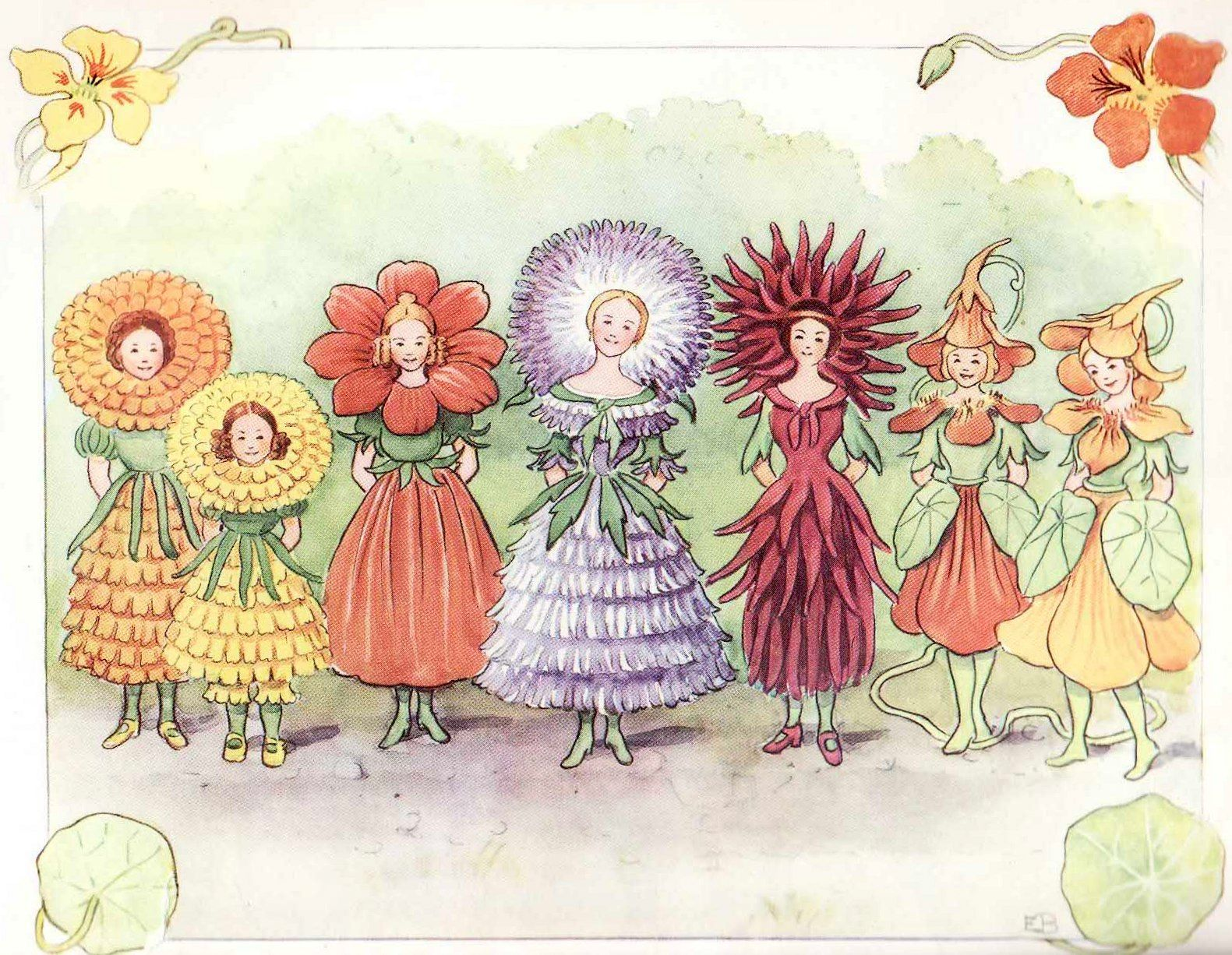 Elsa Beskow illustration:The flower's festival from Christopher's Harvest Time, 1914 - Sweden