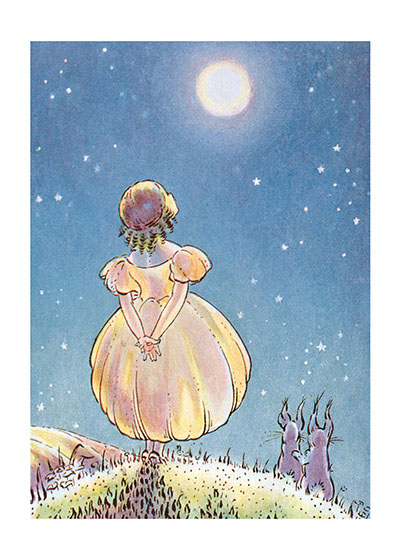 A Little Girl Entranced by the Beauty of the Night  See the card >