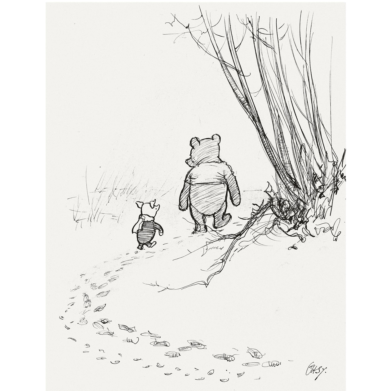 Pooh and Piglet walking, illustration by E.H.Shepard