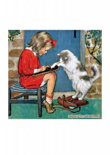 Girl with a Cat & Slate (Jessie Willcox Smith Greeting Cards)