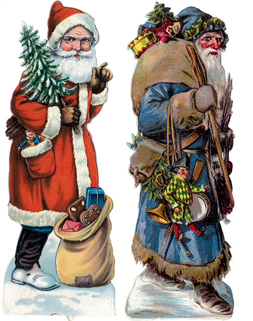 2 Victorian  Santa scraps: one in a blue suit, one is a red suit.
