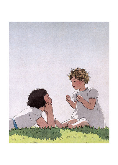 Illustration by Marty of two girls in conversation  See the card >