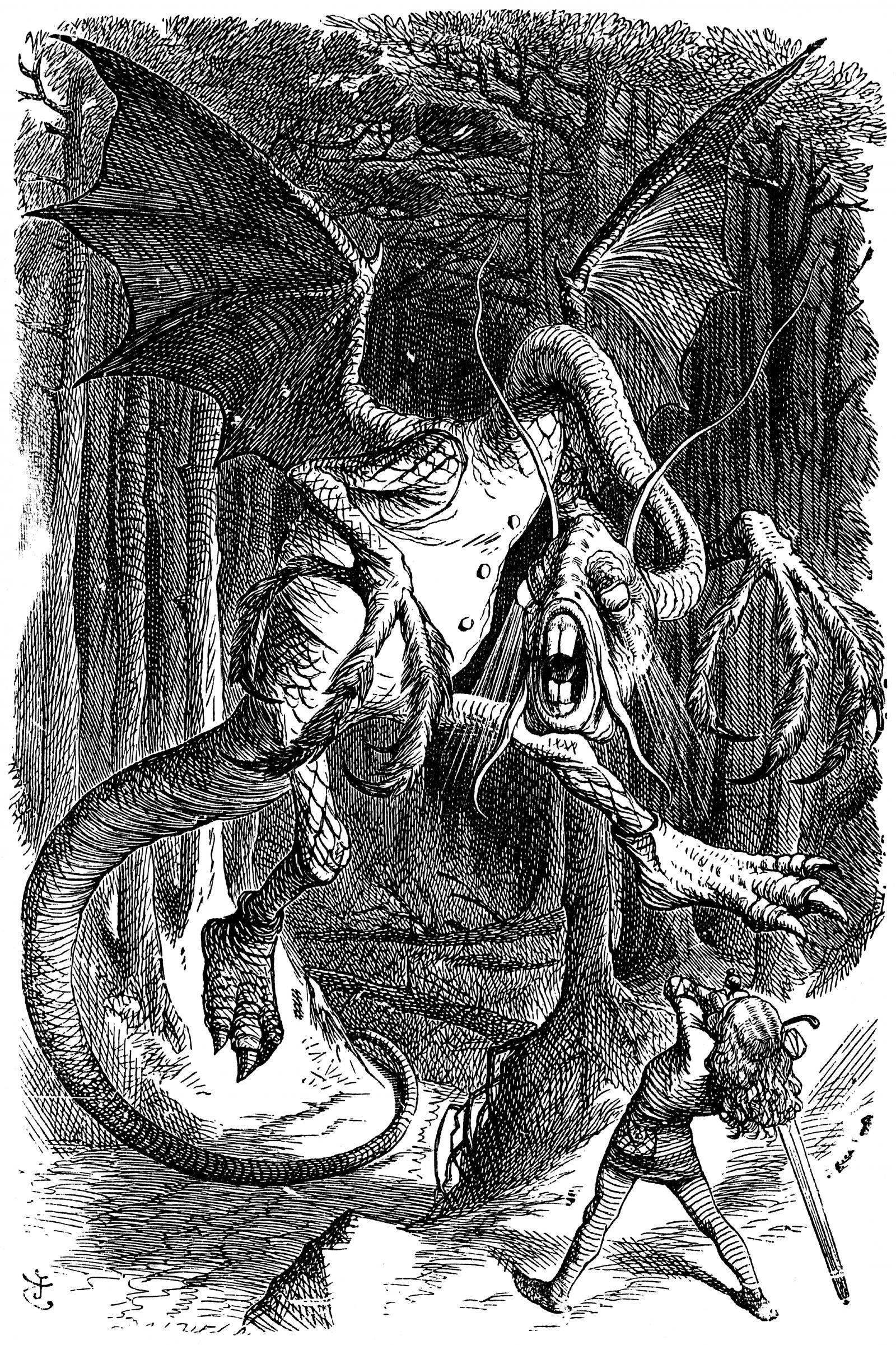 John Tenniel Illustration for 'The Jabberwocky' by Lewis Carroll