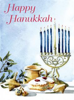 Dreidel and Candles (Jewish Greeting Cards)