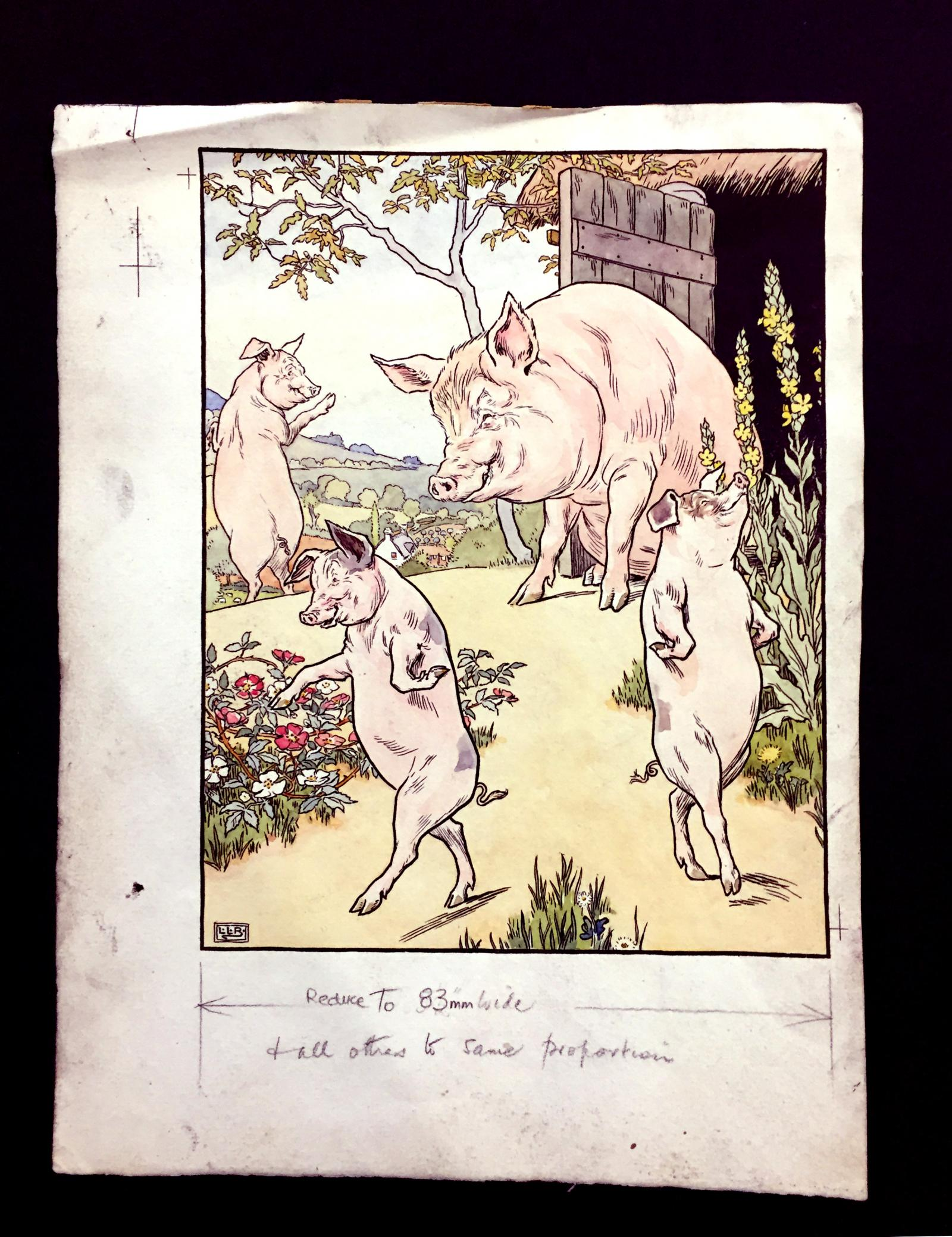 """Original Painting by Leslie Brooke for """"The Three Little Pigs"""""""