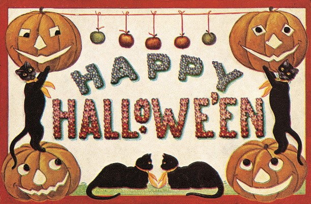 An image from the Laughing Elephant's Halloween Postcard Book of jack o lanterns and black cats, Happy Halloween!