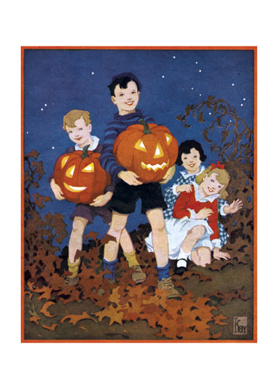 Children carry carved pumpkins through beautiful fall leaves in the Laughing Elephant greeting card.