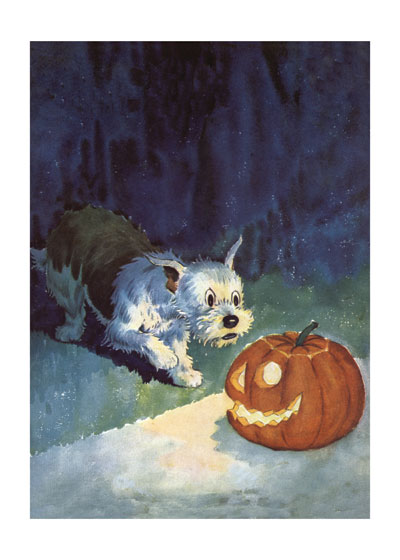 An adorable dog is surprised by a jack o' lantern in this greeting card from Laughing Elephant.