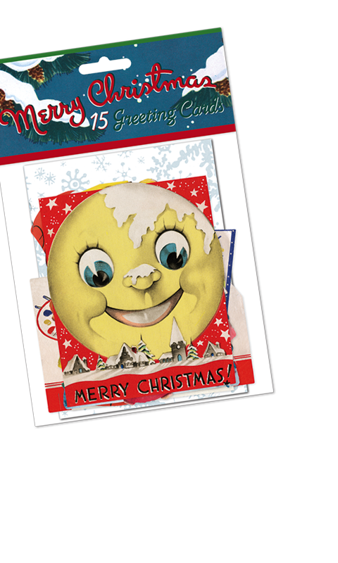 Our two Christmas card packets bring you a lot of Christmas cheer for a mere $10.95. Each pack contains fifteen different die-cut Christmas cards, reproduced from our vast collection. Images include children, animals, Santa and lots of fun, whimsical, happy holiday imagery, and the packets include decorated envelopes.