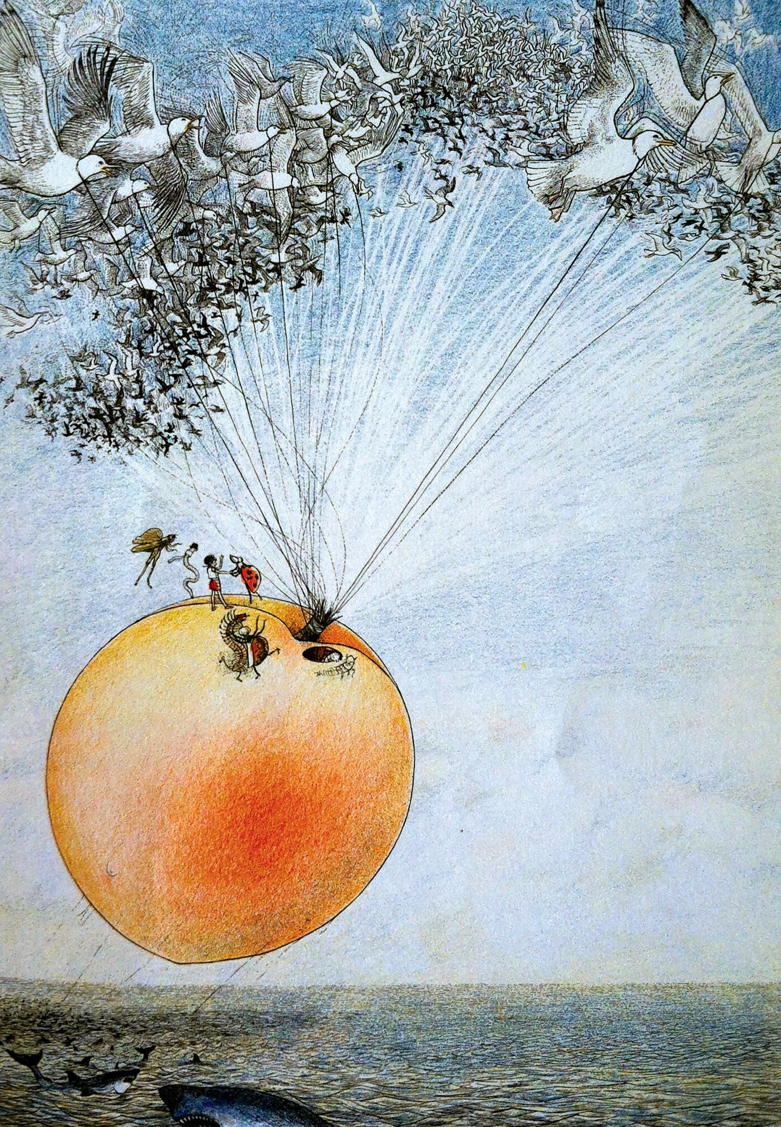 Illustration by Nancy Ekholm Burkert for 'James and the Giant Peach' by Raold Dahl