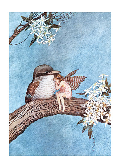 Fairy and Kookaburra, Illustration by Ida Rentoul Outhwaite  (Available as a Greeting Card and Art P