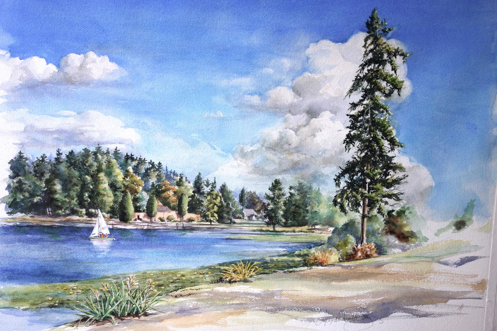 A view of Seward Park and Lake Washington by Alexandra Day